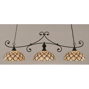 Curl Matte Black 16-Inch Three Light Billiard Bar with Honey and Brown Scallop Tiffany Glass