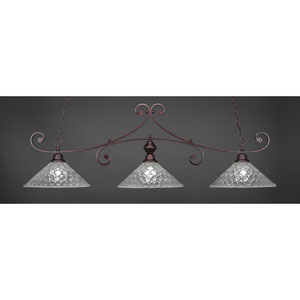 Curl Bronze Three-Light Island Pendant with 16-Inch Italian Bubble Glass Shade