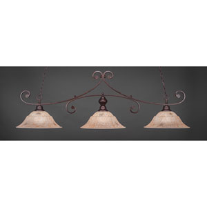 Curl Bronze Three-Light Billiard Pendant with Italian Marble Glass