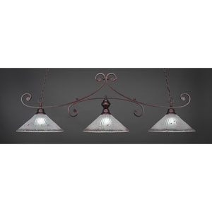 Curl Bronze Three-Light Island Pendant with 16-Inch Frosted Crystal Glass Shade
