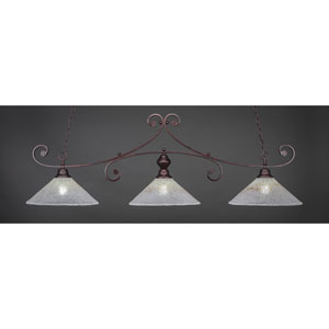 Curl Bronze Three-Light Island Pendant with 16-Inch Gold Ice Glass Shade