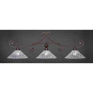 Curl Bronze Billiard Light with Italian Ice Glass
