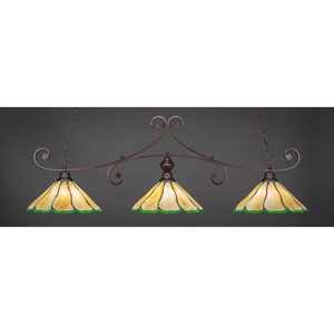 Curl Bronze Three-Light Island Pendant with 16-Inch Honey And Hunter Green Flair Tiffany Glass