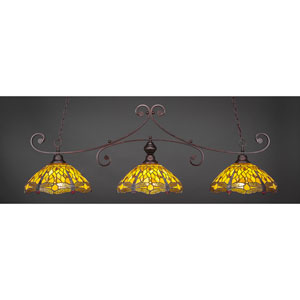 Curl Bronze Three-Light Billiard Pendant with Amber Dragonfly Tiffany Glass