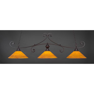 Curl Dark Granite 16-Inch Three Light Billiard Bar with Firré Saturn Glass