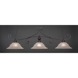 Curl Dark Granite 16-Inch Three Light Billiard Bar with Amber Marble Glass
