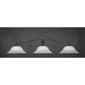 Curl Dark Granite 16-Inch Three Light Billiard Bar with White Linen Glass