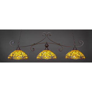 Curl Dark Granite 16-Inch Three Light Billiard Bar with Amber Dragonfly Tiffany Glass