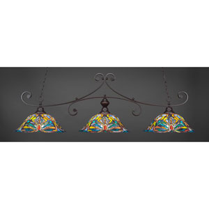Curl Dark Granite 19-Inch Three Light Billiard Bar with Kaleidoscope Tiffany Glass