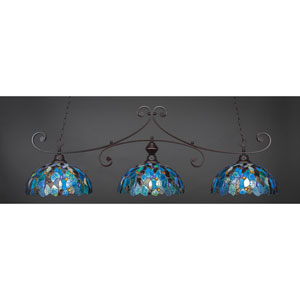 Curl Dark Granite 16-Inch Three Light Billiard Bar with Blue Mosaic Tiffany Glass