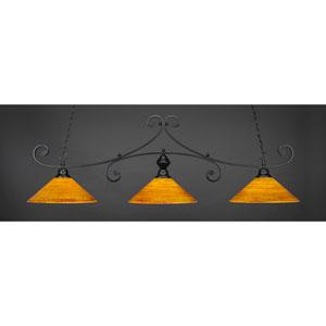 Curl Matte Black 16-Inch Three Light Billiard Bar with Firre Saturn Glass