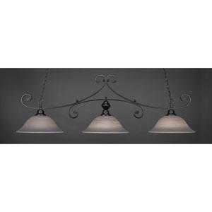 Curl Matte Black 16-Inch Three Light Billiard Bar with Gray Linen Glass