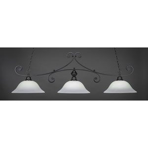Curl Matte Black 16-Inch Three Light Billiard Bar with White Linen Glass