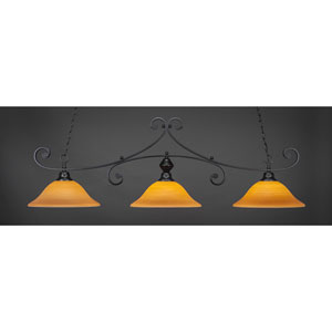 Curl Matte Black 16-Inch Three Light Billiard Bar with Cayenne Linen Glass