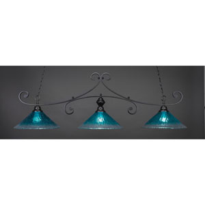 Curl Matte Black 16-Inch Three Light Billiard Bar with Teal Crystal Glass