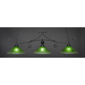 Curl Matte Black 16-Inch Three Light Billiard Bar with Kiwi Green Crystal Glass