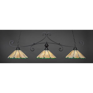 Curl Matte Black 16-Inch Three Light Billiard Bar with Honey and Hunter Green Flair Tiffany Glass