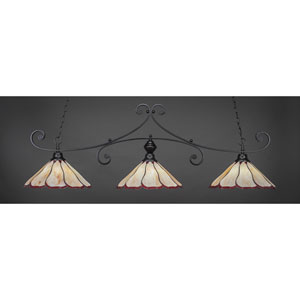Curl Matte Black 16-Inch Three Light Billiard Bar with Honey and Burgundy Flair Tiffany Glass