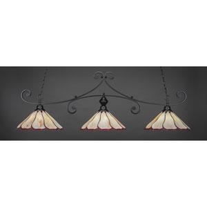 Curl Matte Black 16-Inch Three Light Billiard Bar with Honey and Burgundy Flair Tiffany Glass