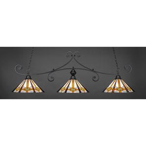 Curl Matte Black 16-Inch Three Light Billiard Bar with Hampton Tiffany Glass