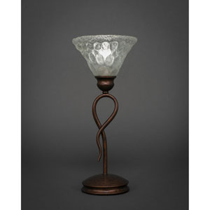 Leaf Bronze One-Light Mini Table Lamp with Italian Bubble Glass Shade
