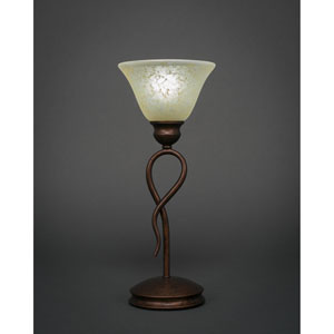 Leaf Bronze One-Light Mini Table Lamp with Amber Marble Glass Shade