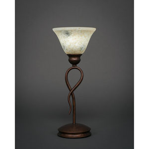 Leaf Bronze One-Light Mini Table Lamp with Italian Marble Glass Shade