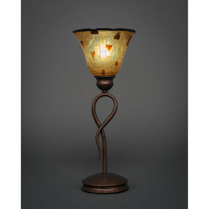 Leaf Bronze One-Light Mini Table Lamp with Penshell Shade