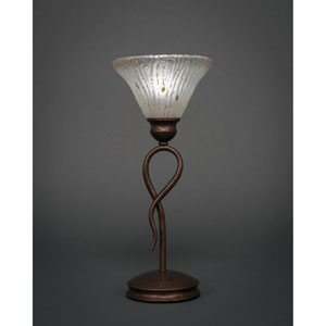 Leaf Bronze One-Light Mini Table Lamp with Frosted Crystal Glass Shade