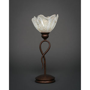 Leaf Bronze One-Light Mini Table Lamp with Italian Ice Glass Shade
