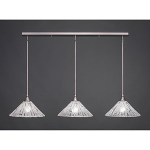 Brushed Nickel Three-Light Pendant with Twelve-Inch Italian Ice Glass
