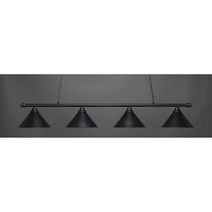 Oxford Matte Black Four-Light Island Pendant with Metal Shade