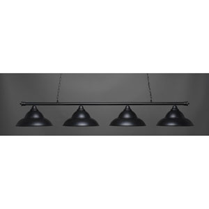Oxford Matte Black Four-Light Island Pendant with Double Bubble Shade