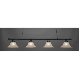 Oxford Matte Black Four-Light Island Pendant with Amber Marble