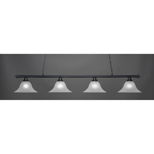 Oxford Matte Black Four-Light Island Pendant with 14-Inch White Marble Glass