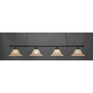 Oxford Matte Black Four-Light Island Pendant with 14-Inch Italian Marble Glass