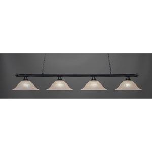 Oxford Matte Black Four-Light Island Pendant with Amber Marble Glass