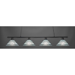 Oxford Matte Black Four-Light Island Pendant with Pewter Shade