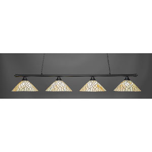 Oxford Matte Black Four-Light Island Pendant with Sandhill Tiffany Glass