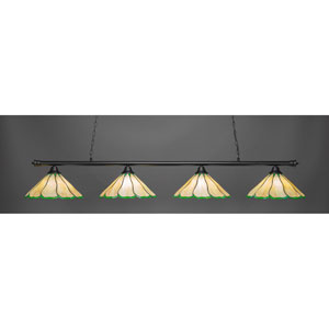 Oxford Matte Black Four-Light Island Pendant with Honey and Hunter Green Flair Tiffany Glass