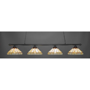 Oxford Matte Black Four-Light Island Pendant with Honey and Brown Mission Tiffany Glass
