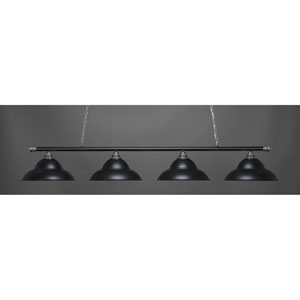 Oxford Chrome and Matte Black Four-Light Island Pendant with Black Shade