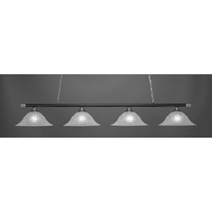 Oxford Chrome and Matte Black Four-Light Island Pendant with Matte Black Double Bubble Shade