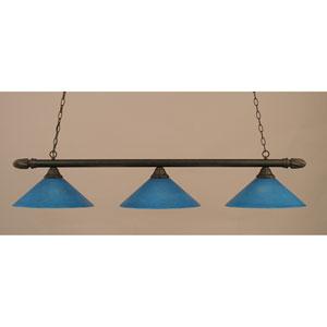 Dark Granite Round Billiard Light with Blue Italian Glass