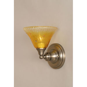 Brushed Nickel Wall Sconce with Wine Crystal Glass