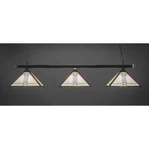 Square Black Copper Three-Light Island Pendant with Santa Fe Tiffany Glass