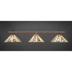 Square Bronze Three-Light Island Pendant with Fiesta Tiffany Glass