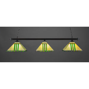 Billiard Black Copper Square Three-Light Island Pendant with 14-Inch Green and Metal Leaf Tiffany Glass