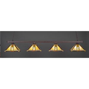 Square Bronze Four-Light Billiard Light w/ 14-Inch Santa Cruz Tiffany Glass