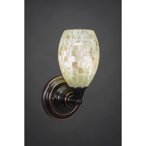 Black Copper Wall Sconce with Seashell Glass